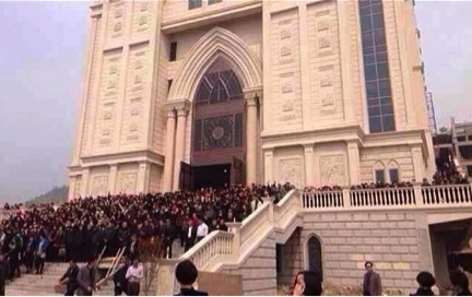 Christians protect their church in Wenzhou, China.