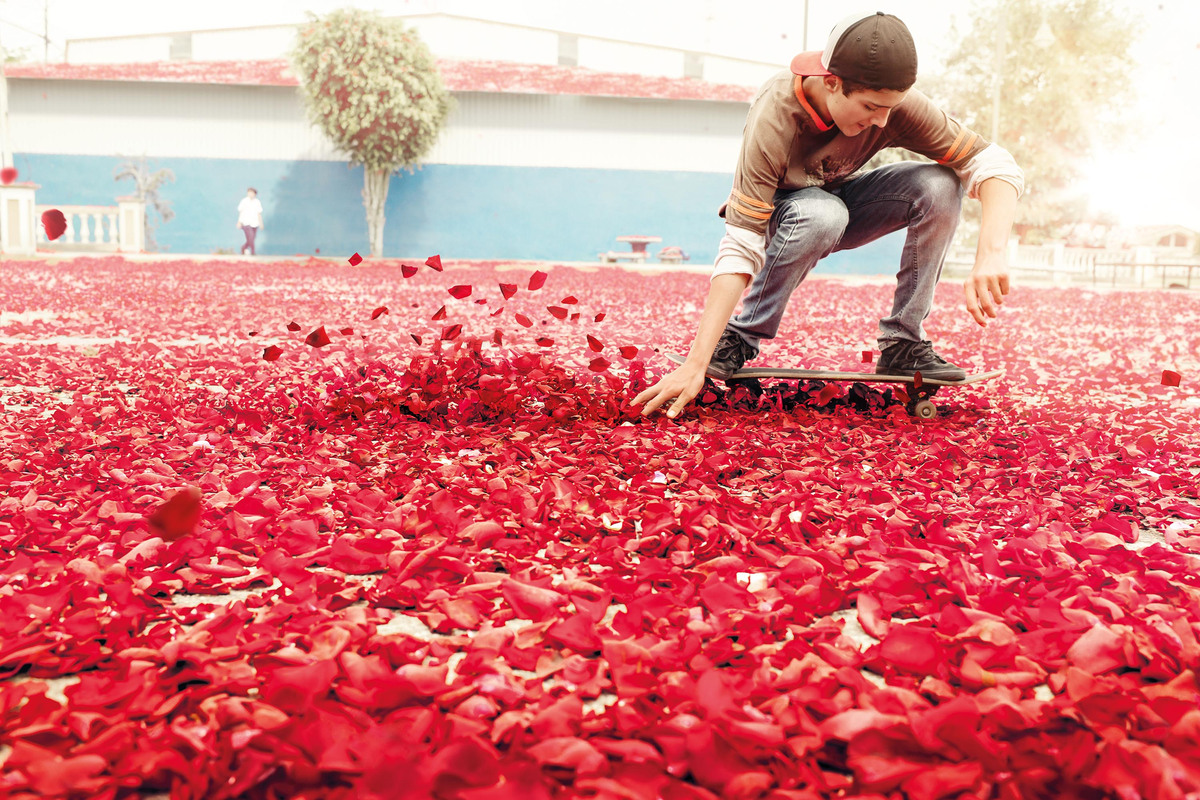 Flower petals covers the streets.