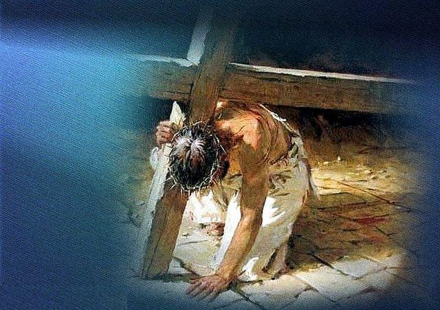 Jesus carrying his cross.