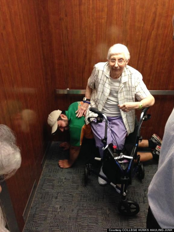 Cesar Larious becomes a human chair for elderly woman.