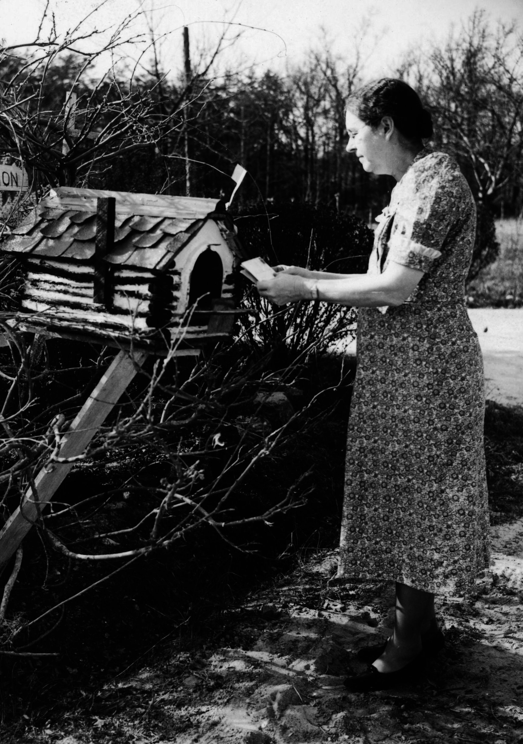 Ruth is checking the letter at her mailbox.