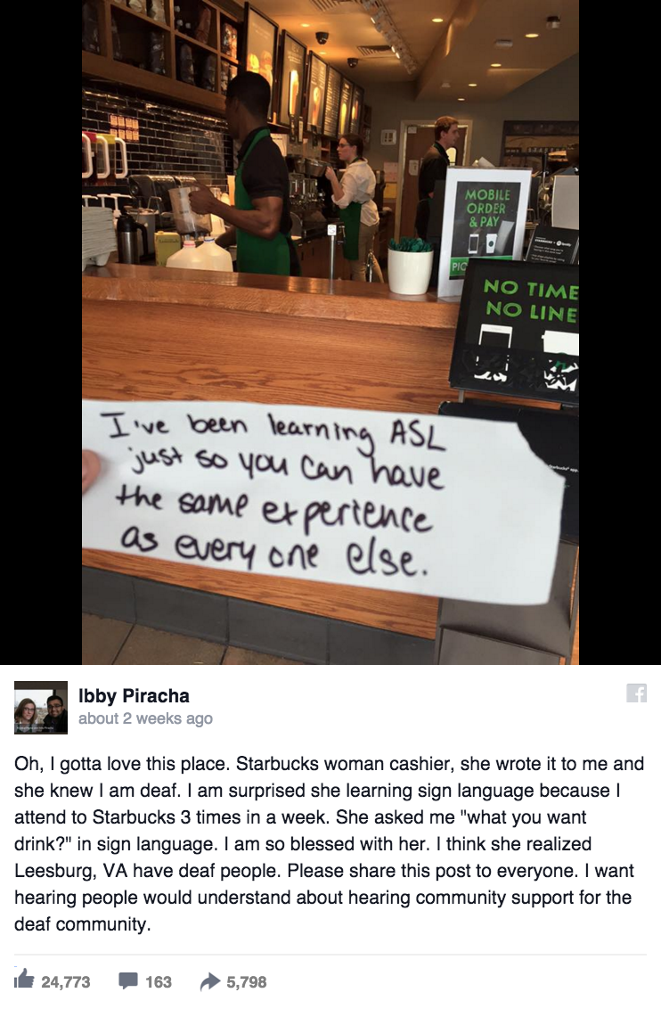 The Touching Note a Starbucks Employee Handed a Deaf Man Will Brighten Your Day