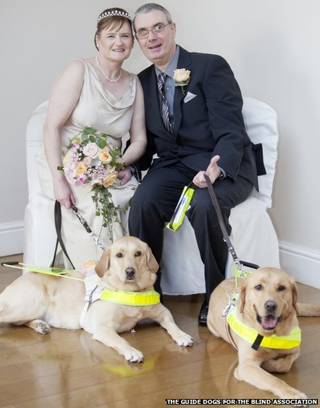 Happy Couple Gets Married With Guide Dogs