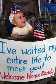 Adorable baby welcomes home her daddy