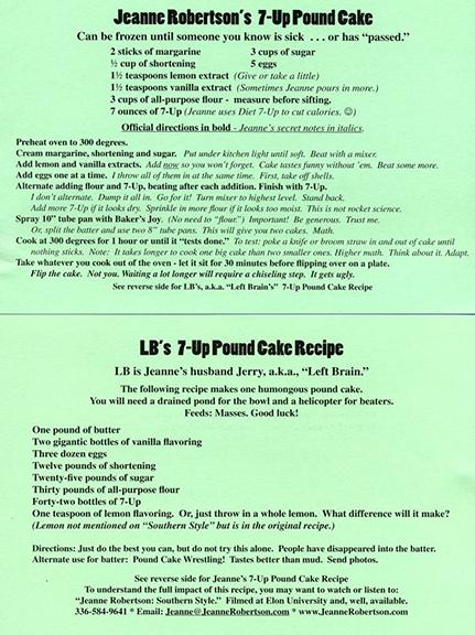 Jeanne Robertson Pound Cake Recipe
