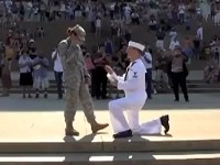 Sailor Proposes to his Soldier Girlfriend on July 4th