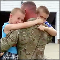 Soldier Surprises Sons in a Way They Didn't See Coming