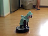 Hilarious Cat Dressed as a Shark Rides a Roomba... LOL, Too Funny!