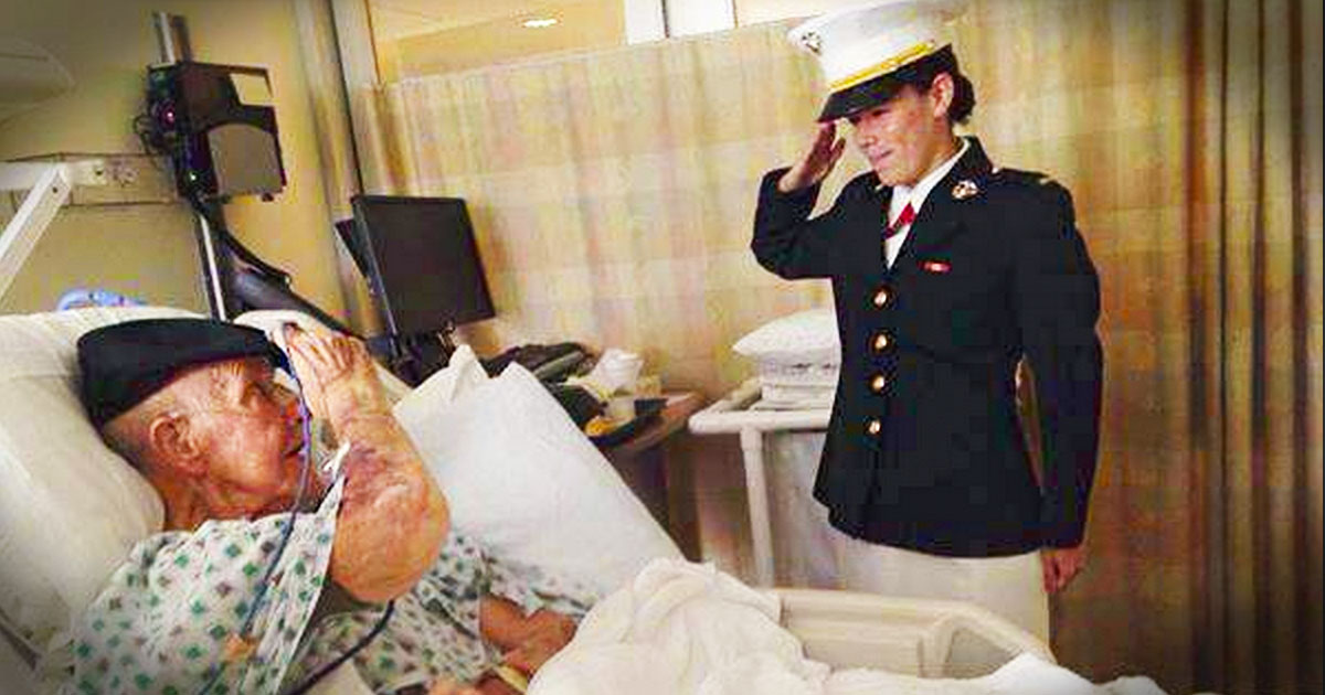 A New Marine Surprised Her Sick Grandpa For a Tearful First Salute