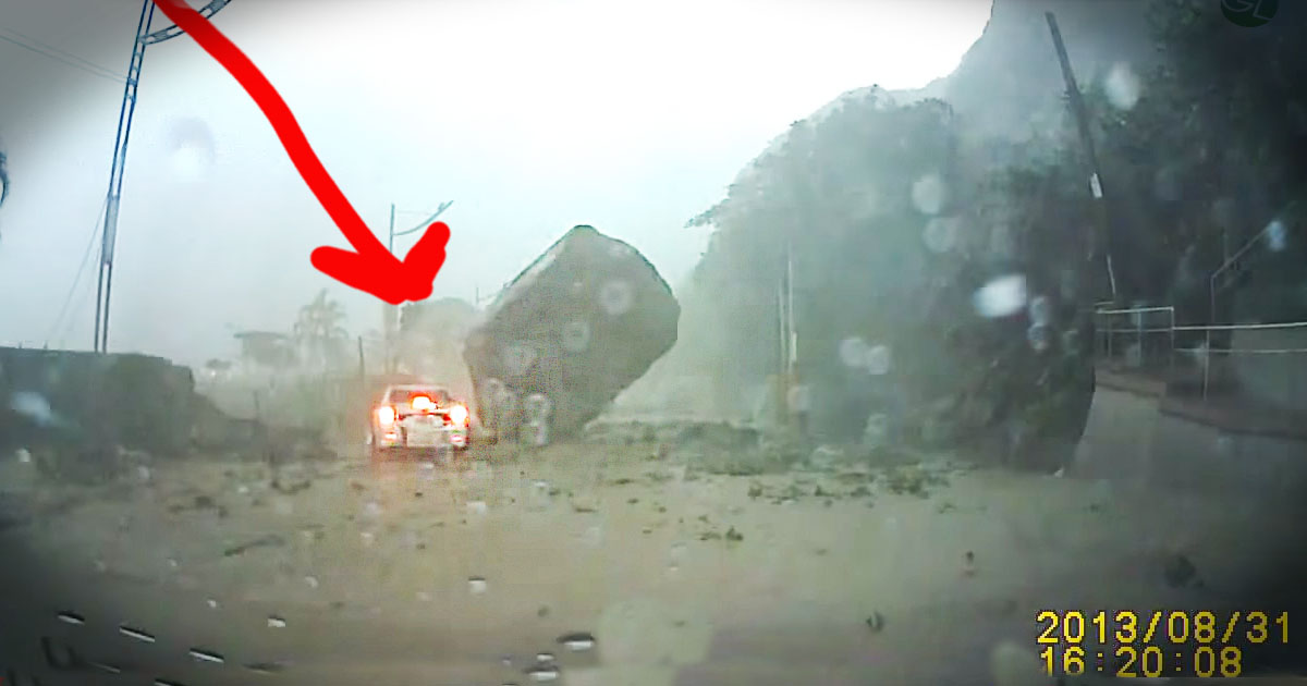 Giant Boulder Almost Crushes Car In Mudslide