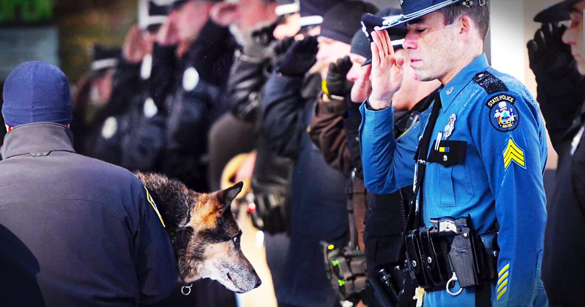 Officers' Tearful Farewell To Their Faithful Friend