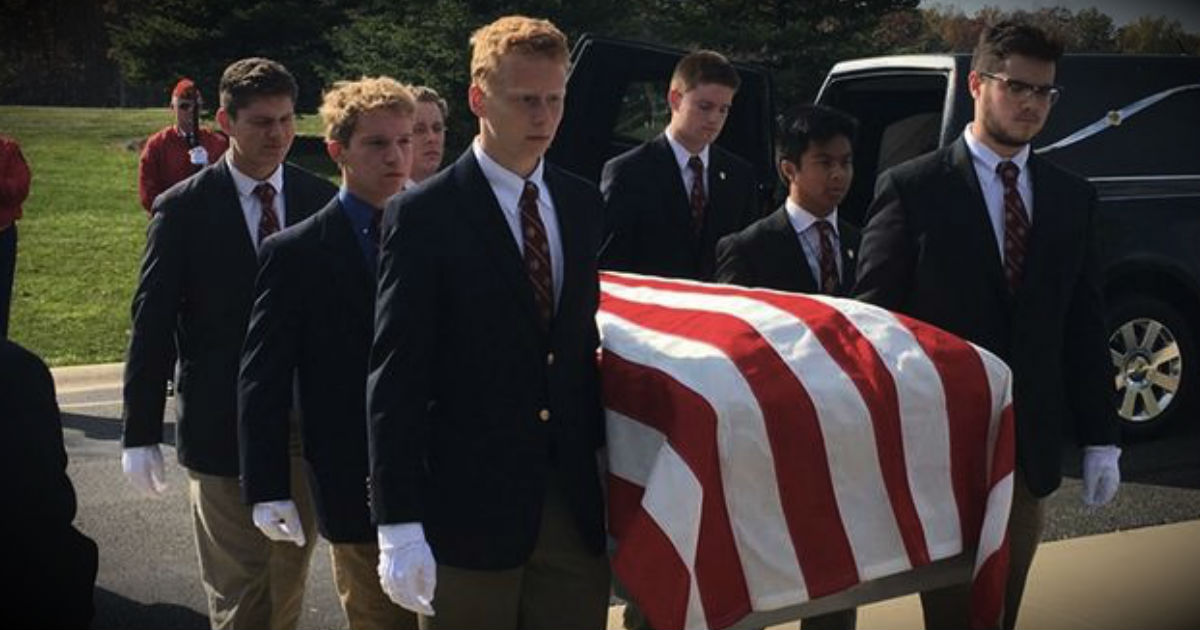 High School Boys As Pallbearers For Homeless Veterans