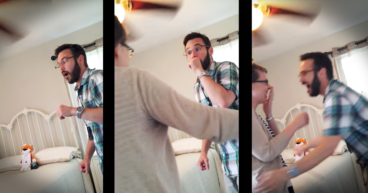 woman surprises husband with pregnancy announcement of ...