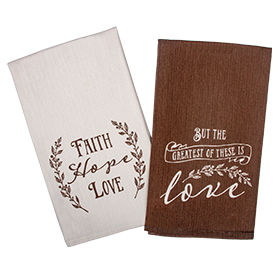 Faith, Hope, Love tea towel set