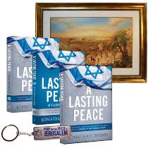A Lasting Peace Book, Study Guide, Wall Art, DVD, and Israel Keychain