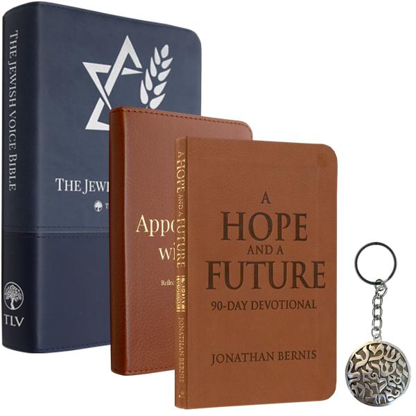 Book, Hope Devotional, Jewish Voice Bible, and Shema Keyring